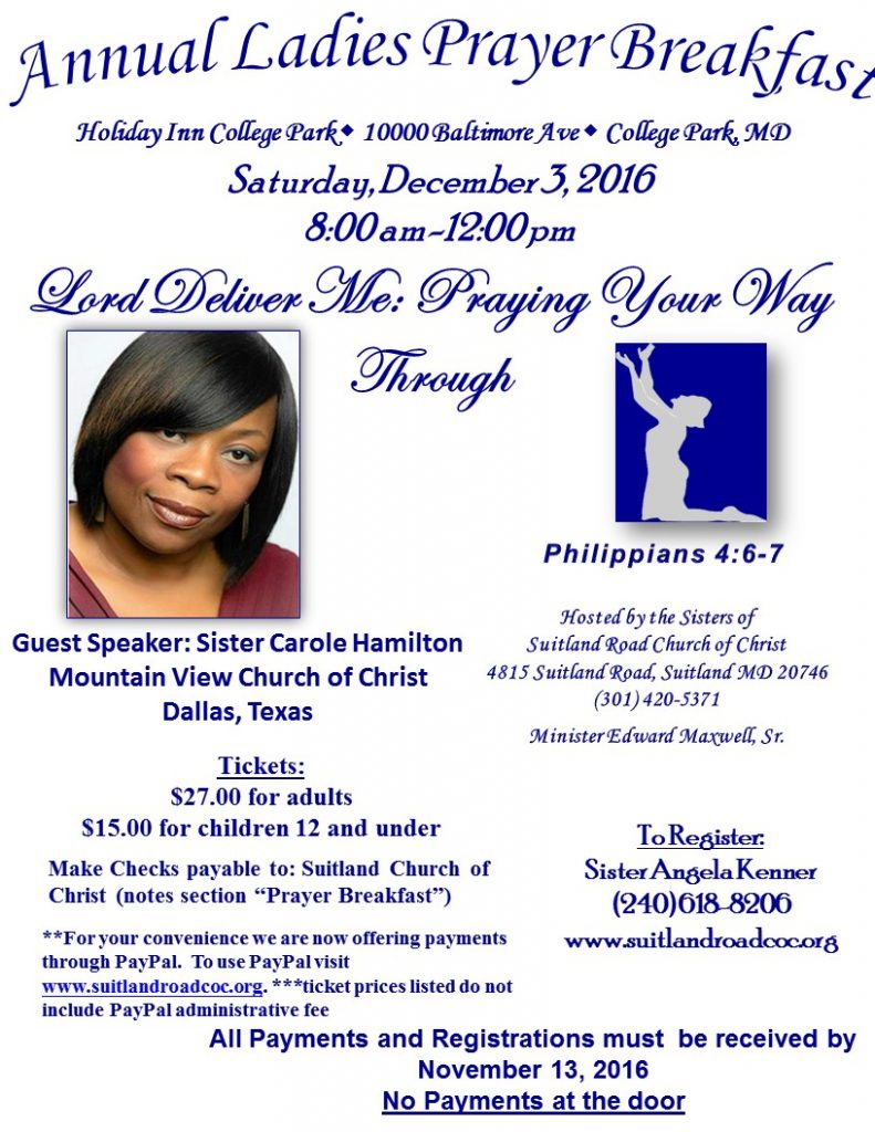 2016 Ladies Prayer Breakfast  Suitland Road Church Of Christ. Personal Reference Letter Template. Broker Open House Ideas. Mothers Day Template. Free Flyer Printing. Jesus Calling For Graduates. Unique Quickbook Invoice Templates. Christmas Gift Exchange. Capital Budget Template Excel